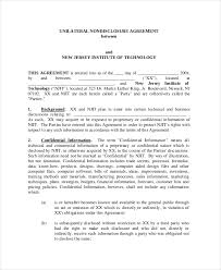 non disclosure agreement template 8 free word pdf document