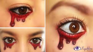 easy crying blood halloween makeup tutorial by eyedolizemakeup