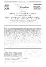 defining professional pharmacy services in community pharmacy