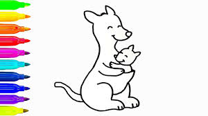 baby and mom kangaroo drawing for kids coloring book learn
