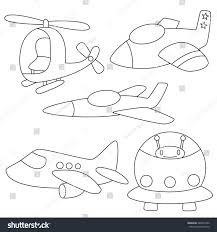 set air vehicles planerocket coloring page stock vector 389476186