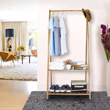 wooden clothes rail bedroom open wardrobe stand storage rack unit