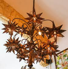 Handmade Chandelier by Stars Chandelier El Callejon Art Tin And Glass Stars