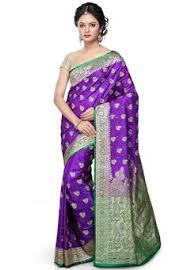 Buy Violet Embroidered Art Silk Buy Dark Teal Green And Magenta Art Banarasi Silk Saree With