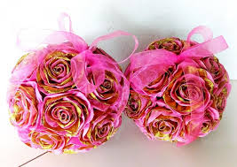 Baby Shower Flower Centerpieces 2 Pink Gold Crepe Paper Flowers Hanging Kissing Balls Wedding