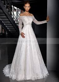 ivory lace wedding dress shoulder sleeves corset back sweep ivory lace