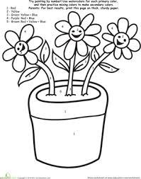 watercolor paint by number flowers worksheet education com