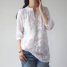 linen blouses summer half sleeve organza cotton linen white
