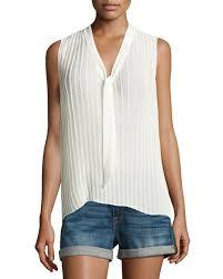 sleeveless tie neck blouse frame pleated sleeveless tie neck blouse white neiman
