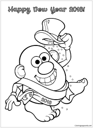 new year sash mrs potato on new year coloring page free coloring pages