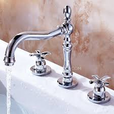 silver three holes widespread bathroom faucets