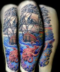 traditional pirate ship octopus tattoo photos pictures and