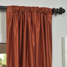 burnt orange vintage textured faux dupioni silk curtain sample
