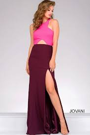 burgundy and fuchsia fitted floor length gown with thigh high slit