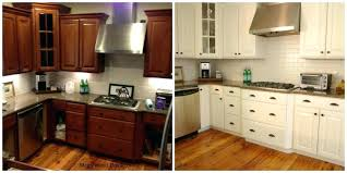 How To Paint Oak Kitchen Cabinets Painting Kitchen Cabinets White Before And After Salmaun Me