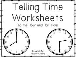telling time half hour telling time worksheets to the hour and half hour by annand