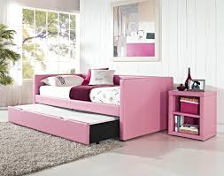 Living Room Bedroom Combo Designs Pink Trundle Day Bed For Girls Bedroom Combined With Pink Bench