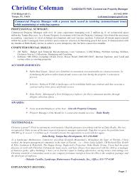 sample resume for it manager commercial property manager resume