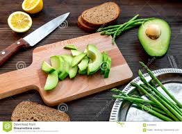 Wooden Kitchen Table Background Lunch With Healthy Avocado Sandwich On Wooden Kitchen Table