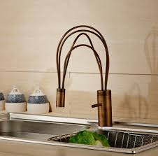 single handle antique brass finish deck mount led kitchen faucet