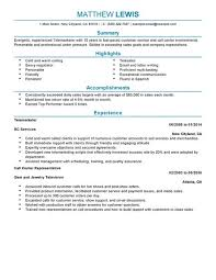 Customer Service Resumes Examples by Best Experienced Telemarketer Resume Example Livecareer