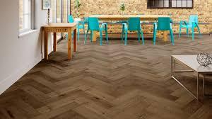 Oak Smoked Herringbone Engineered Parquet - Herringbone engineered wood flooring