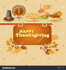 happy thanksgiving card autumn thanksgiving food stock vector