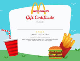 mcdonalds gift card discount 13 free printable gift certificate templates birthday christmas