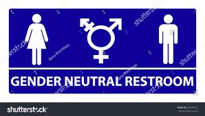 Gender Neutral Bathrooms - new gender neutral bathroom sign design stock illustration