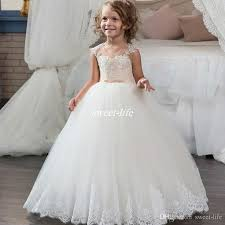 cheap tulle new gown white flower girl dresses for wedding tulle