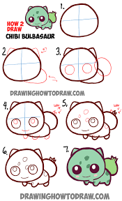 learn how to draw cute baby chibi bulbasaur from pokemon in simple
