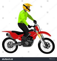 motocross style helmet classic motocross motorcycle standing rider wearing stock vector