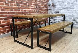 various industrial dining table steel reclaimed wood benches set
