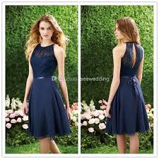 wholesale short navy blue bridesmaid dress halter high neck cutout