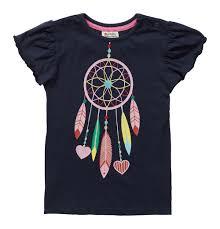 organic cotton navy dream catcher girls short sleeve jersey t