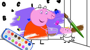 peppa pig coloring pages with crayon and sketch pens youtube
