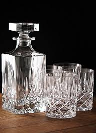 Royal Doulton Glass Vase Royal Doulton Spirit Set Square Crystal Decanter With Four