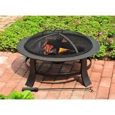 fire pit topper shop garden treasures 30 in matt black steel wood burning fire pit
