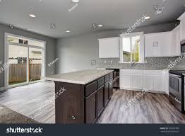 gray kitchen walls with white cabinets unique kitchen gray hardwood floor well stock photo edit