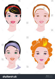 four beautiful girls faces isolated on stock illustration 2724106