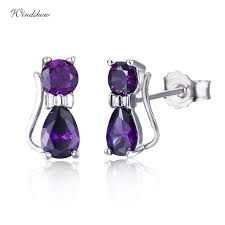 purple stud earrings 925 sterling silver kittens cat gatos aaa cz purple