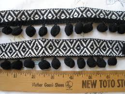 tribal woven ribbon pom pom trim black u0026 white ribbon black poms