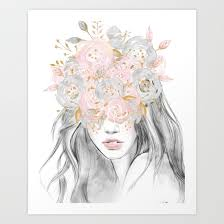 Gold Flowers She Wore Flowers In Her Hair Rose Gold By Nature Magick Art Print