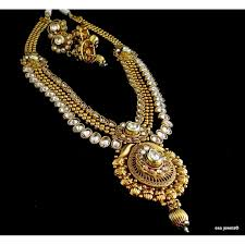 long necklace set images Kundan and zircon long necklace set JPG
