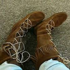 womens moccasin boots size 11 stitched brown leather moccasins moccasin boots leather