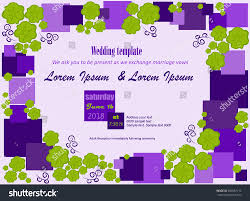 invitation template flowers green purple squares stock vector