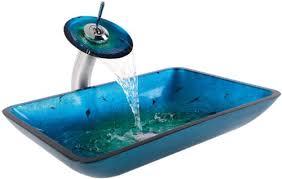 blue glass vessel sink kraus c gvr 204 re 10ch irruption blue rectangular glass vessel sink