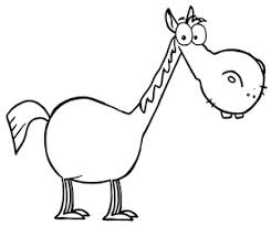 funny cartoon horse drawings sketch coloring page