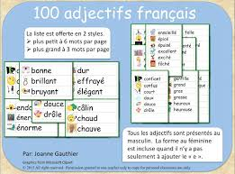 les adjectifs french adjectives illustrated word wall large