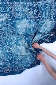 luru home vintage chinese indigo batik fabric or nankeen luru